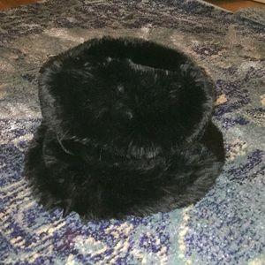 Women's super fluffy black cozy hat